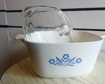 Vintage 1 3/4 Quart Corning Ware Casserole Dish with Lid // Blue Cornflower Edition
