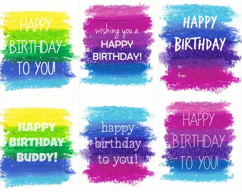 Bright Coloured Birthday Printable Gift Tags INSTANT DOWNLOAD