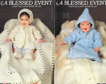 Knit and Crochet Baby Patterns, A Blessed Event, Coats & Clark Book No. 293, Knit Bunting, Crochet Baby Set and Blanket, Vintage Bookllet