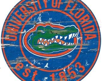 "NCAA  University of Florida  Round Distressed Established Wood Sign 24"" Diameter"