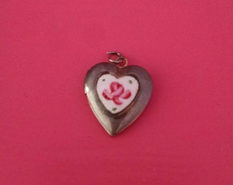 Price Reduced! Plus FREE SHIPPING!! - One of a Kind Hand Painted Silver Heart Locket