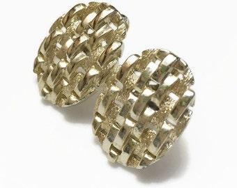 Coro Screw Back Earrings, Vintage Signed Coro, Gold Tone Jewelry, Woven Design