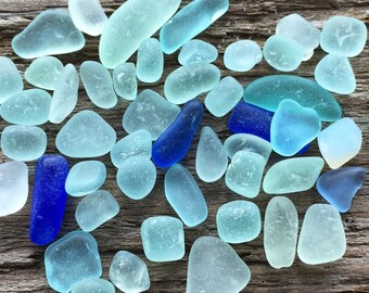 Tiny Assorted Blue Sea Glass