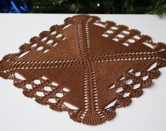 Crochet doily, Square crochet doily, Handmade doily, chocolate doily, crochet lace doily, Crochet table decoration, brown doily