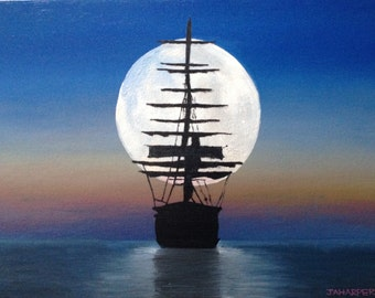 Sailing Ship - original oil painting 16x12