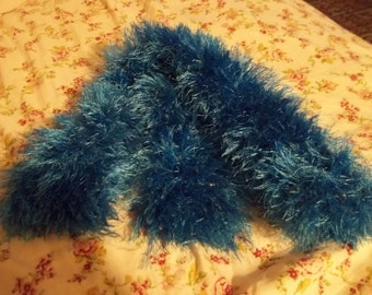 Hand Knitted Blue Faux Fur Scarf - Adult Size