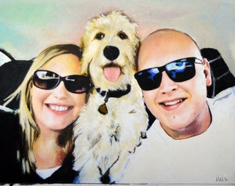 Birthday Present, Goldendoodle, Wedding Present, Anniversary Present, Custom Dog Portrait, Couples Portrait, Golden Doodle, Kiss