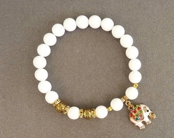 White Bracelet for women Gift for daughter Elephant Bracelet for her Summer Bracelet Elephant Charm Bracelet Beaded Bracelet Tibetan Jewelry