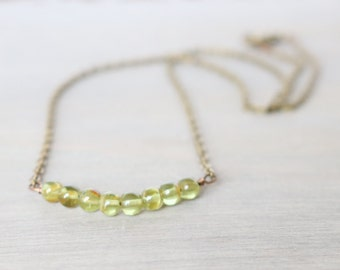 Green Simple Necklace - Layer necklace, Dainty, Bronze Metal, Lime Green
