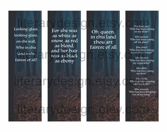 Snow White Printable Bookmarks - Brothers Grimm - Book Quotes - Classic Literature - Evil Queen - Who is the Fairest - Digital Download