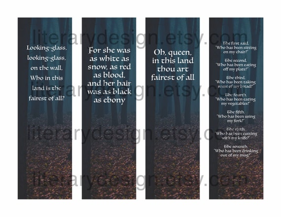 Snow White Printable Bookmarks Brothers Grimm Book Quotes