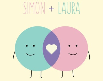 Custom Name Print - Venn Diagram Love - wedding-birthday-new baby gift