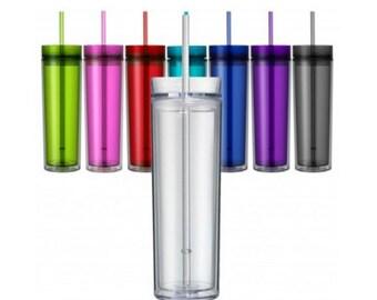 Blank Skinny Tumbler 16 oz Double Wall BPA Free Acrylic Tumbler, Personalize Monogram Tumblers, Blank Tumblers