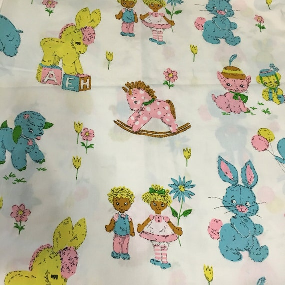 Items similar to vintage fabric baby print animals for Nursery print fabric