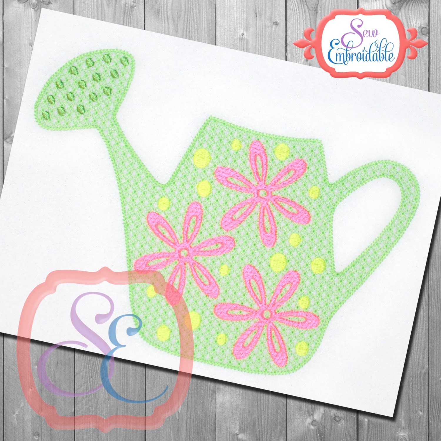 Motif watering can design for machine embroidery instant