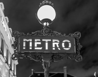 Paris metro sign, black and, white photography, digital wall art, digital print, instant download, printable art, wall decor, home decor