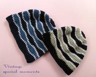 Crochet Wave Beanie Hat, Adult hat, Mens gift
