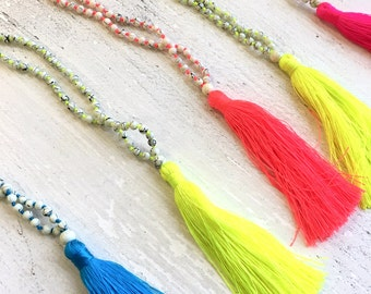 Long Beaded Necklace with Tassel. Unique Boho Chic Gifts for Her