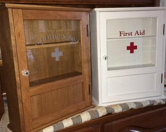 Handmade Vintage Style First Aid Medicine Cabinet
