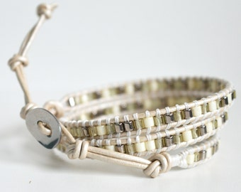 Beaded Leather Wrap Bracelet,  Beaded Wrap Bracelet, Boho Triple Wrap Bracelet, Wrap Bracelets, Handmade Bracelet, Bohemian Bracelets