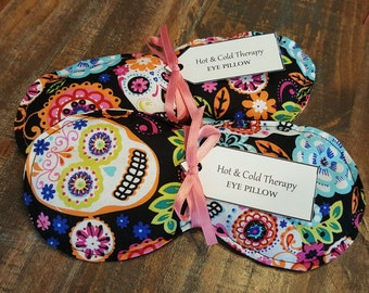 Colorful Sugar Skulls - Eye Pillow - Hot & Cold Therapy Rice Pack