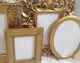 Gold Picture Frame Set Shabby Chic Frame Set Ornate Mix Custom Colors And Sizes Hand Painted Vintage Frames Upcycled