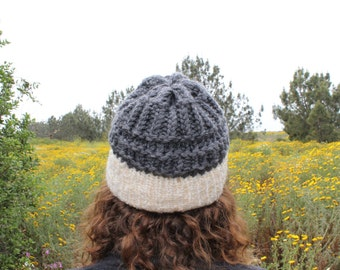 Gray and White Knit Hat