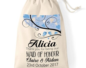 Pretty love birds personalised wedding bag | Thank you favor cotton bag | Maid of Honour | Bridesmaid gift wrap idea | Keepsake momento