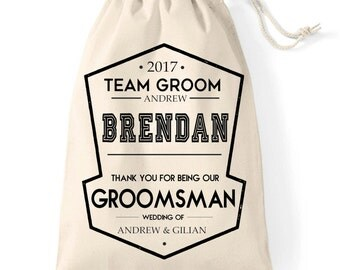 Personalised Groomsman | Usher | Best Man Wedding favour thank you gift bag.