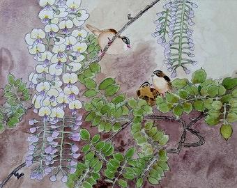 11 x 14 Original Watercolor Wisteria