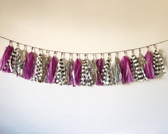 Tassel Garland | Garland | Plum and Silver Tassel Garland| Purple and Gold Tassel Garland| Purple and Silver Bridal Shower | Plum and Silver