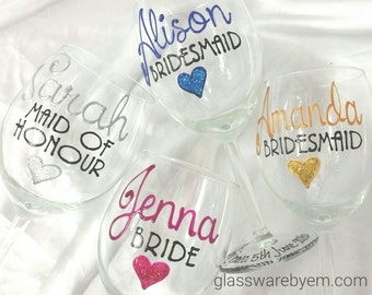Wedding Wine Glasses Toasting glasses Hand Painted to order & Gift boxed Standard range glasses each any name title glass or colour