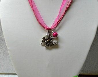 Pink pearl fairy organza necklace