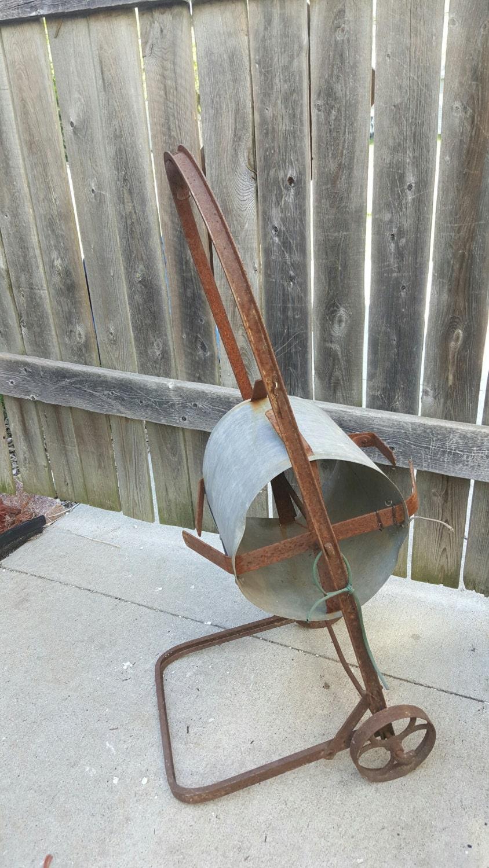 Old Vintage Antique Galvanized Rustic Hose Reel Organizer