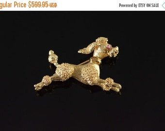 ON SALE 14K Ruby Running Detailed Poodle Dog Pin/Brooch Yellow Gold