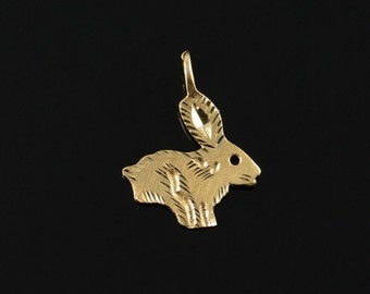 ON SALE 14K Cute Bunny Rabbit Art Carved Charm/Pendant Yellow Gold