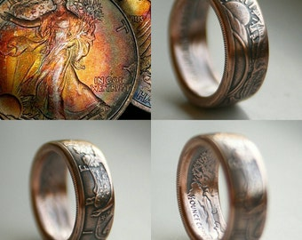 USA Copper walking liberty coin ring