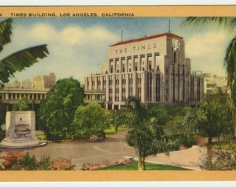 Los Angeles California CA Times Building Vintage Linen Postcard