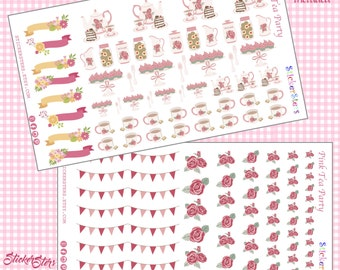 Pink Shabby Tea Time Cute Planner Stickers