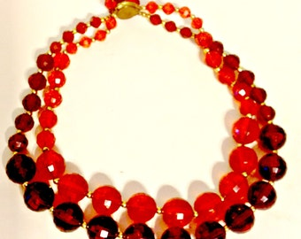 Necklace,Vintage, 2 strand Faceted Faux Amber, 2 Colors of Beads, Kahlo Designs,Jewelry,Gift for Women