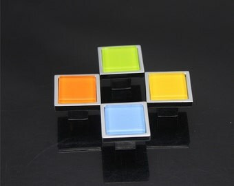 Glass Knobs Dresser Drawer Knobs Pulls Handles Colorful Orange Blue Green Yellow Kitchen Cabinet Knobs Furniture Pull Knob Hardware Square