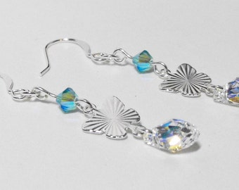 Butterfly Tears: Silver Butterfly Drop Earrings with Light Aqua Swarovski Crystals and Swarovski Crystal Clear Teardrops