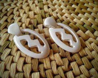 WHITE Retro Pierced Earrings-Zig Zag-Dangle-Unusual-All Orders Only .99c!