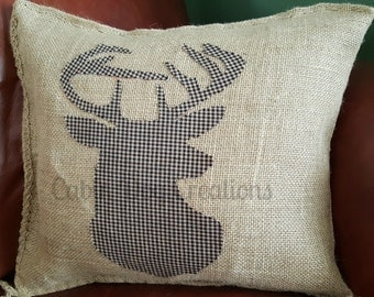 Rustic Burlap Deer Pillow