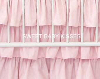 Three tiered Pink Ruffle Crib Skirt | Pink Baby Bedding | Ruffle Baby Bedding