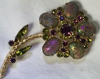 Iridescent amethyst and peridot cabochon flower brooch