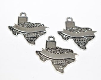 10 Texas Charms - Texas State Charms - US State Charms - USA Charms - US Map Charms - Map Of Texas Charms - American State Charms - SC1145