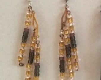 Drop Down Beaded Dangle Earrings