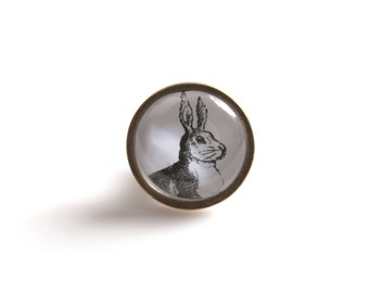 Mr Hare Drawer Knob Black and White