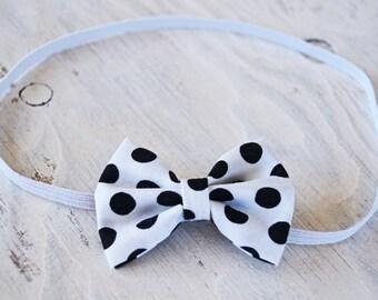 White Black Polkadot Bow Headband or Clip, Hair Clip, Bow Headband
